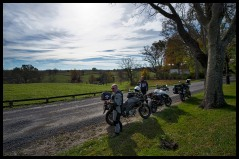 Motorcyclist take a break as they ride some of the hundreds of miles out in Western Loudoun's historic dirt roads. This is Mountville Road near Unison. (Photo by Douglas Graham/WLP)