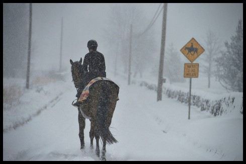 During a snow storm an equestrian makes her way down Foggy Bottom Road near Bloomfield, Virginia. (Photo By Douglas Graham/WLP)